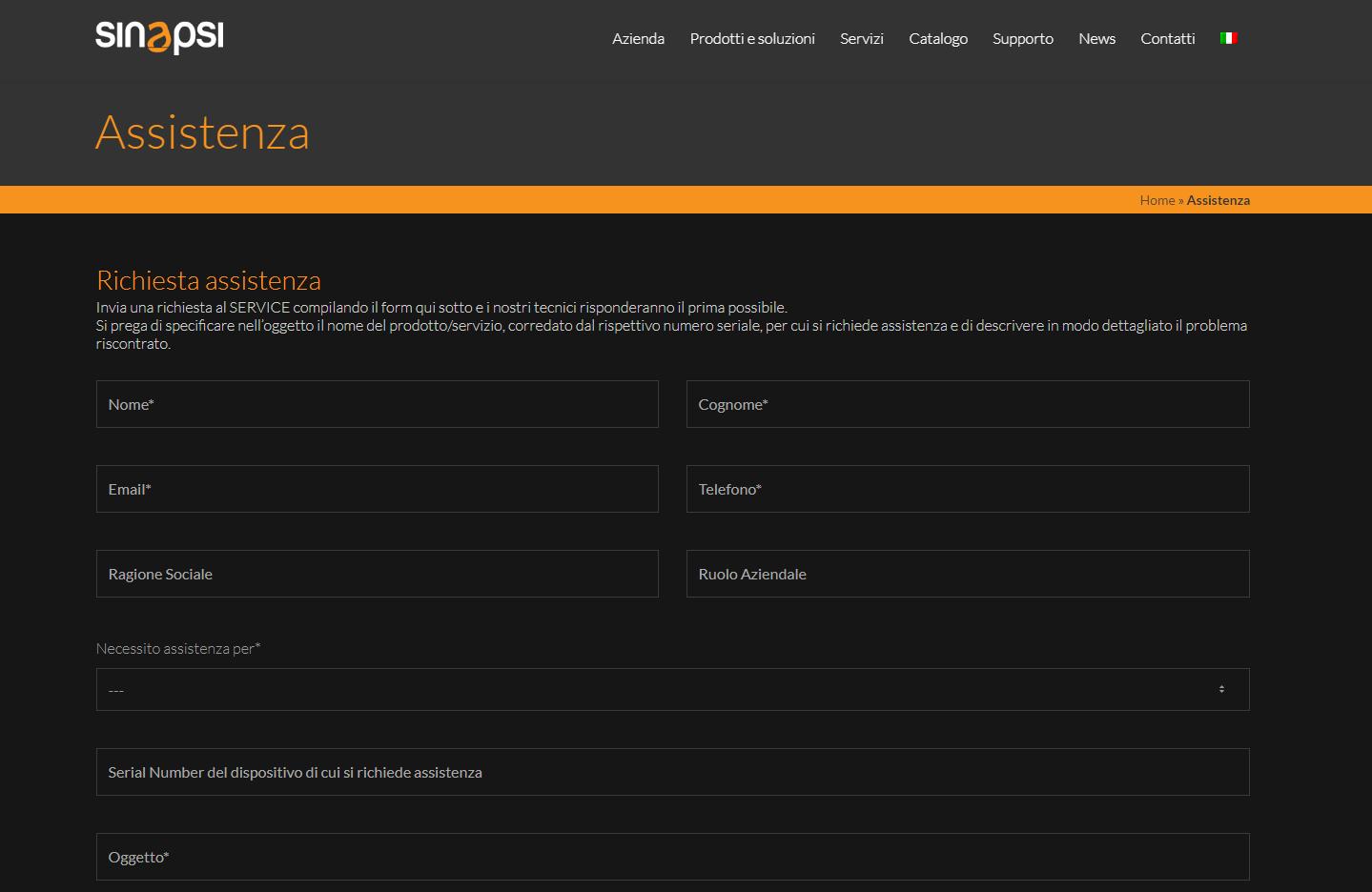 Nuova pagina richiesta Assistenza